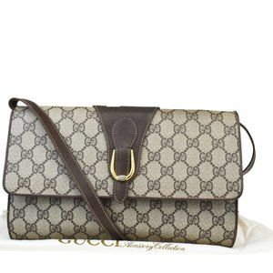 GUCCI GG Pattern Clutch Shoulder Bag PVC Leather